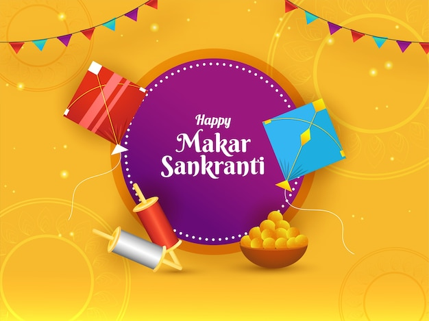Happy makar sankranti concept with kites