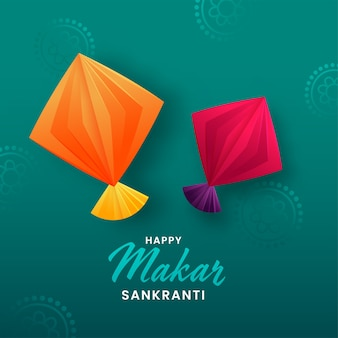Happy makar sankranti concept with origami paper kites illustration on green background