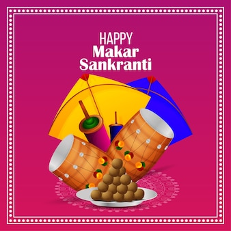 Happy makar sankranti creative illustration and kite with string spool