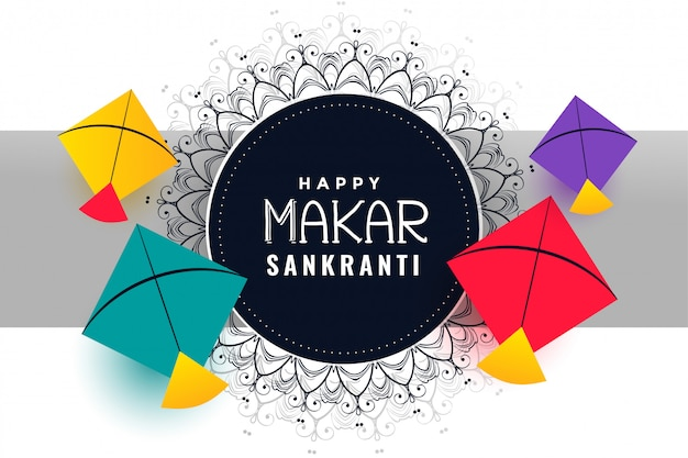 Happy makar sankranti festival background with colorful kites
