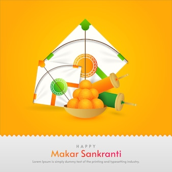 Happy makar sankranti festival decoration background
