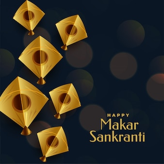 Happy makar sankranti festival greeting with golden kite