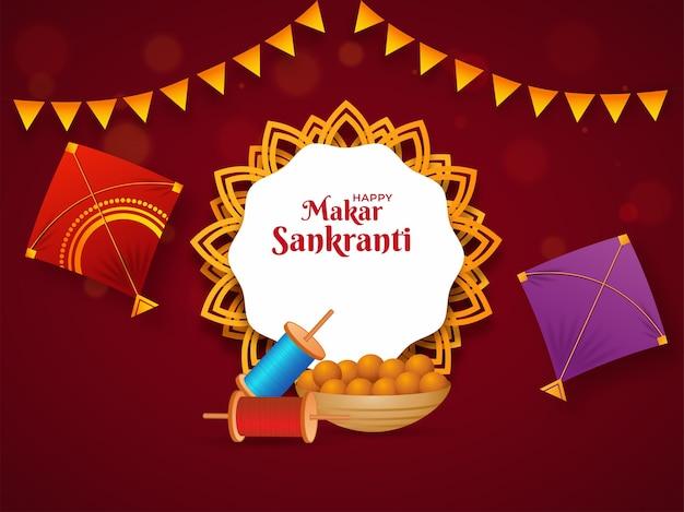 Happy makar sankranti font on mandala frame with realistic kites