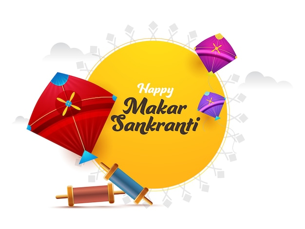 Happy makar sankranti font with colorful kites Premium Vector