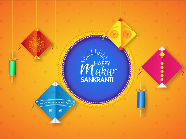 Happy makar sankranti greeting card  decorated with hanging colorful kite's and string spool on orange .