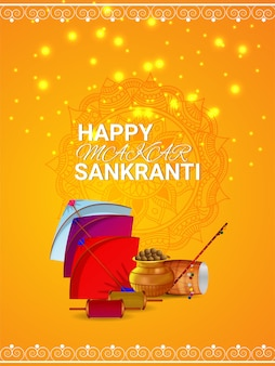Happy makar sankranti greeting card with colorful kites and creative drum