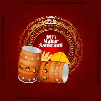 Happy makar sankranti greeting card with creative drum and kite