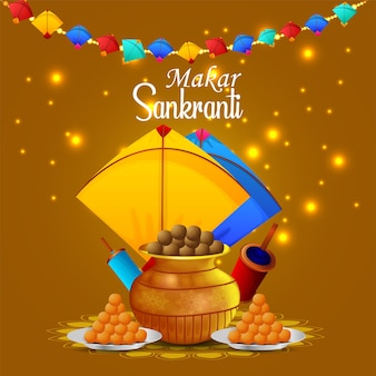 Happy makar sankranti greeting card with kite and string spool