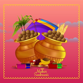 Happy makar sankranti greeting card