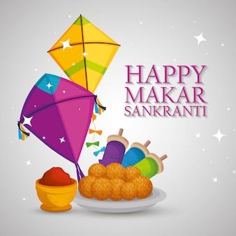 Happy makar sankranti greeting with kites and food