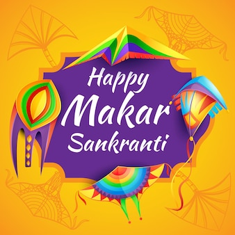 Happy makar sankranti hinduism religion festival with color paper kites