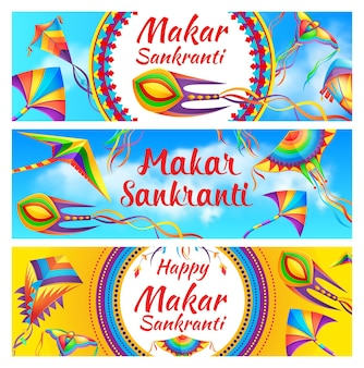 Happy makar sankranti holiday celebration banners