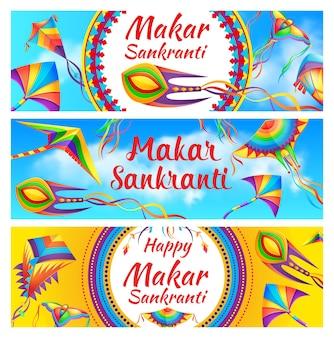 Happy makar sankranti holiday celebration banners
