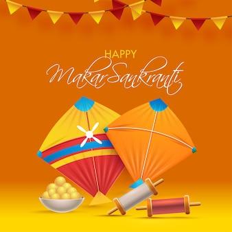 Happy makar sankranti poster design with kites