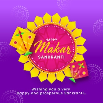 Happy makar sankranti text on mandala frame with kites illustration