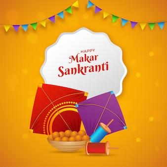 Happy makar sankranti text in white frame with kites