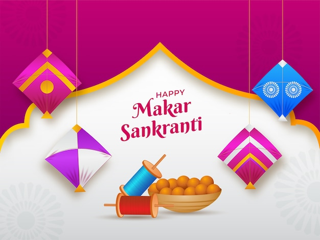 Happy makar sankranti text with indian sweet (laddu) bowl