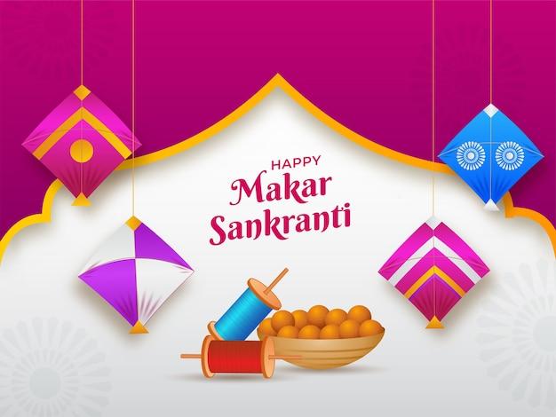 Happy makar sankranti text with indian sweet (laddu) bowl