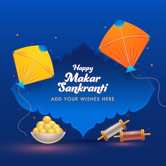 Happy makar sankranti wishing card with kites