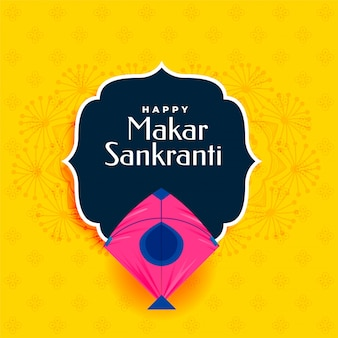 Happy makar sankranti yellow  with pink kite