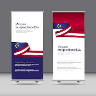 Happy malaysia independence day celebration roll up template