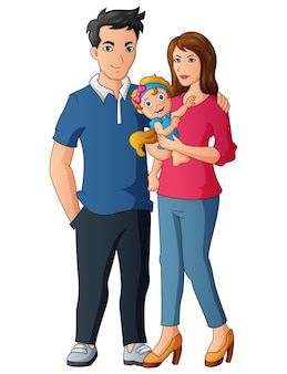 赤ちゃんを抱いて幸せな男性と女性のカップル