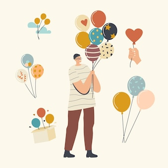 Happy male character holding bunch of colorful helium balloons