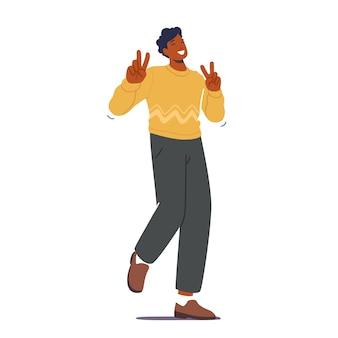 Счастливый мужской персонаж показывает символ победы