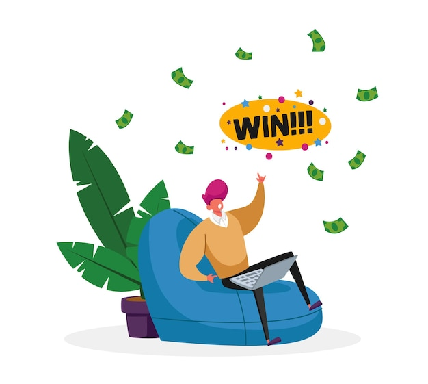 Happy male character sitting with laptop comfortable armchair celebrate win in online casino with money falling from sky.