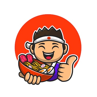 Happy male chef holding ramen noodle cartoon  icon illustration.