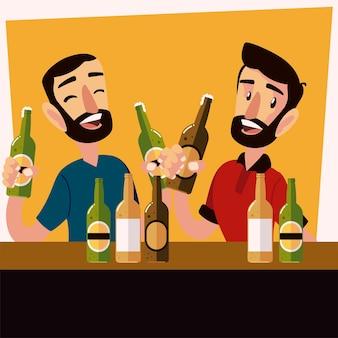 幸せな男性の友人がビールを飲み、メガネのイラストをチリンと鳴らす