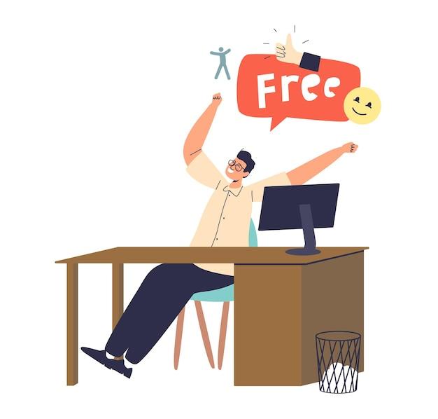 Счастливый мужской офисный работник, аплодисменты на рабочем месте