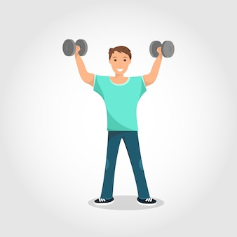 Happy male standing training with gray dumbbell