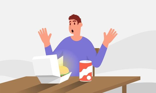 흰색에 고립 된 상자 벡터 평면 그림에 햄버거를 감탄하는 행복한 사람