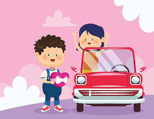 幸せな男とクラシックカーの女の子