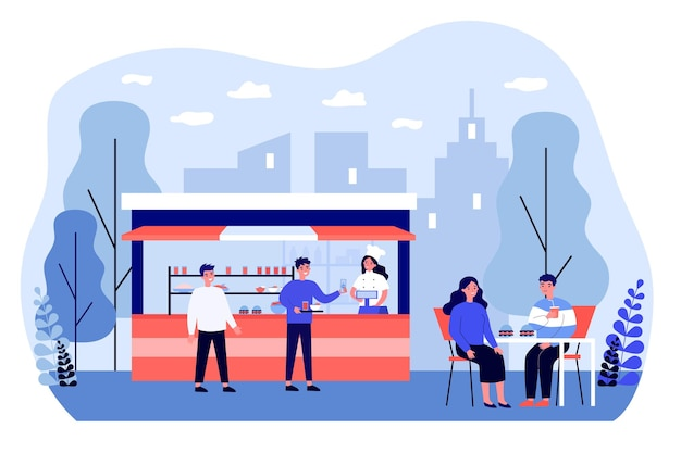 길거리 음식 노점에서 음식을 사고 쟁반에 올려 놓는 행복한 남자. 테이블 야외 평면 벡터 일러스트 레이 션에서 햄버거를 먹는 커플. 배너, 웹 사이트 디자인 또는 방문 웹 페이지를 위한 길거리 음식 개념