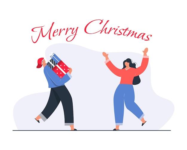 Счастливый человек, несущий или дающий рождественский подарок концепции иллюстрации