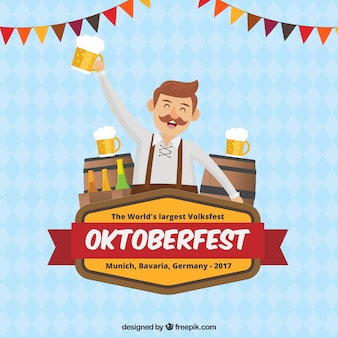 Happy man celebrating oktoberfest