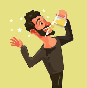 Счастливый человек персонаж пьет пиво с широко открытым ртом.