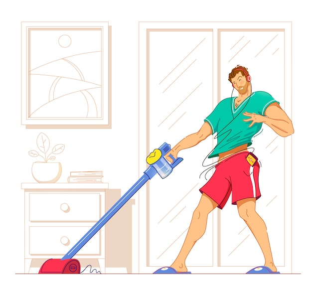 Happy man cleaning home,dancing with vacuum cleaner and having fun, copy space.  illustration.