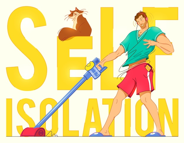 Happy man cleaning home,dancing with vacuum cleaner and having fun, copy space.