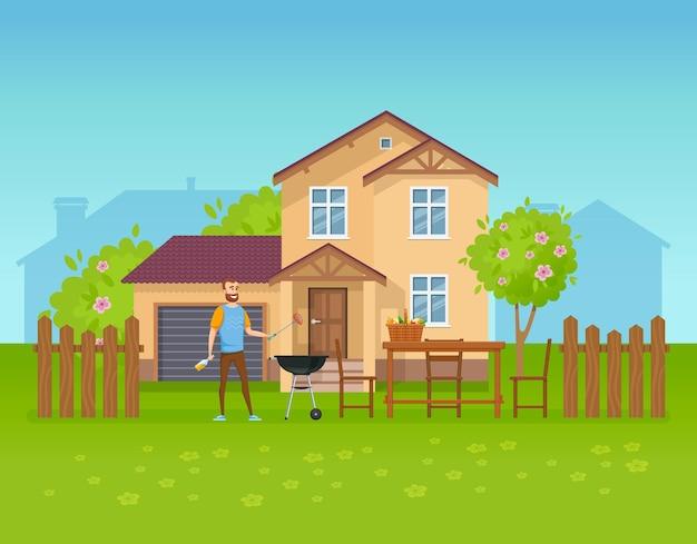 夏の週末を楽しんで田舎の家の裏庭でバーベキューを飲む幸せな男