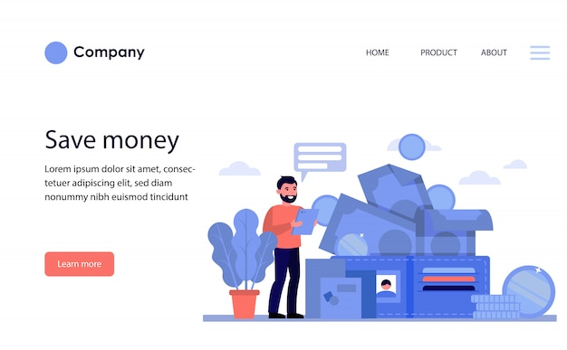 Happy man counting his money. website template or landing page