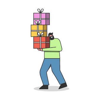 Happy man customer holding heap of gift boxes