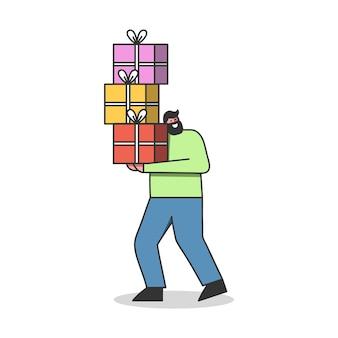 Счастливый человек-клиент держит кучу подарочных коробок