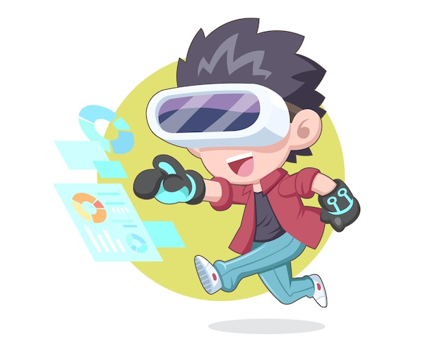 Happy man in cute style wearing vr headset with exciting expression cartoon
