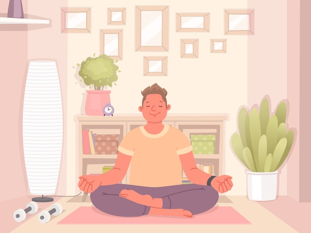 Happy man doing yoga at home. meditation and healthy lifestyle during quarantine. vector illustration in a flat style