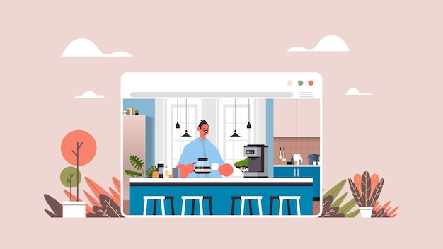 집에서 편안 하 게 커피 남자를 마시는 행복 한 사람 온라인 요리 개념 현대 부엌 인테리어 웹 브라우저 창 가로 세로