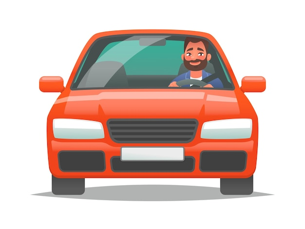 Happy man driving a red car sedan driver buying a new vehicle or a trip to work personal transport
