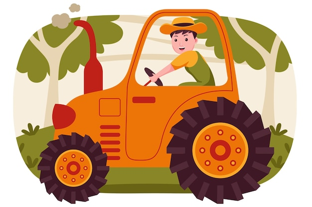 행복 한 사람 농부는 정원에서 트랙터를 운전.